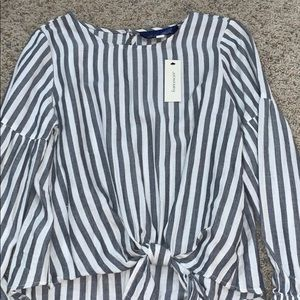 blue and white striped Francescas top